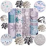 Unbekannt 13 TLG. XXL Set: Geschenkpapier - Weihnachten - 4 Rollen + 7 Schleifen + 20 m Schleifenband - edel - türkis blau & Silber - Geschenkschleifen - Geschenkpapier..