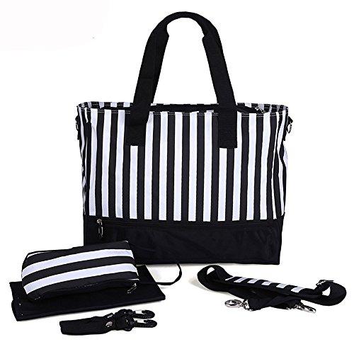 HongyuTing Wickeltasche für Windeln, Baby Kleidung, Flaschen - inklusive Nackenband mit Halterung für Kinderwagen Schwarz