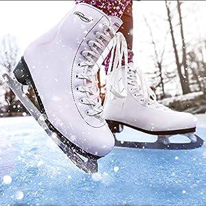 Physionics Eiskunstlauf Schlittschuhe für Damen in Weiß mit Kufenschoner/in den Größen 36 und 37