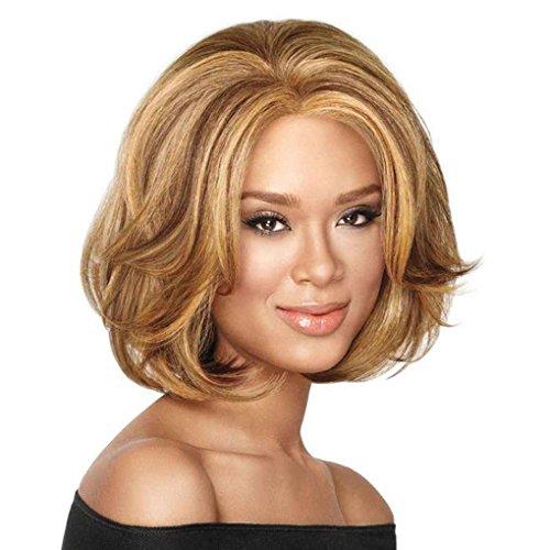 Xuanhemen Flauschige kurze Perücke blonde synthetische lockige kurze Haare Perücke goldene Farben