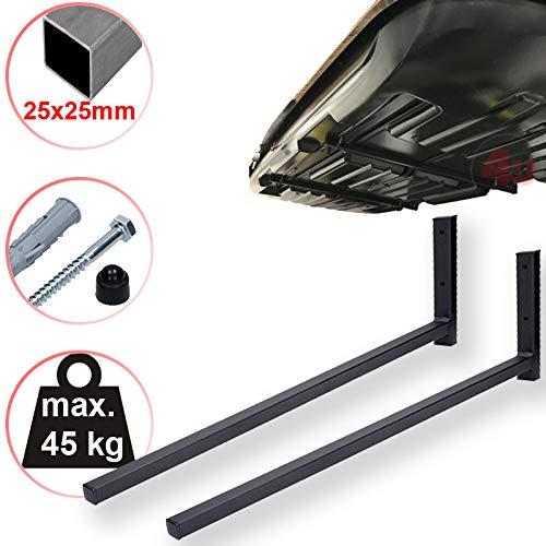 4U® Dachboxenhalterung mit Zubehör 80cm, 45kg, (25x25mm) Dachbox Aufbewahrung Wandhalter Boxenhalter Wandmontage