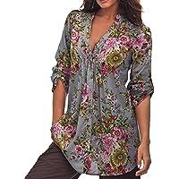 K-youth® Camisas para Mujer, Túnica con Cuello EN V de Estampado Floral