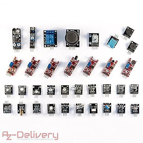 AZDelivery Kit de 35 capteurs/actionneurs pour Arduino ou autre microcontrôleur 35 en 1 35 in 1 pour Arduino, Uno, R3, ATMega, Raspberry Pi