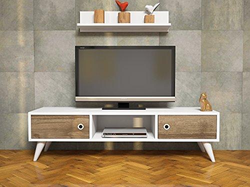 ASPEN Mueble salón comedor para televisión con 2 puerta y estante - Blanco / Nogal - Mueble bajo para televisor - Mesa de Televisión en diseño elegante