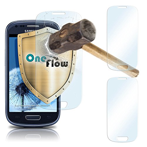 2x OneFlow 9H Panzerfolie für Samsung Galaxy S3 Mini Panzerglas Display Glasfolie [Tempered Glass] Screen protector Glas Displayschutz-Folie für Samsung Galaxy S3 Mini S III Schutzfolie - Display gewölbt, Folie bewusst kleiner Screen Protection Für Galaxy S3