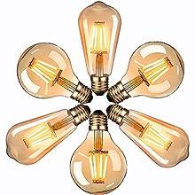 LED Lampadina Vintage Edison, Masswa LED Vintage Edison Bulb, Massway 220V E27 4W (Equivalent 40W) Edison Bulb Retro Style Decorative Light Filament Bulb ST64 with G80, 6 pieces