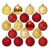 Unomor 24 Stücke Christbaumkugeln Rot und Gold Weihnachtskugeln Mit Aufhänger Weihnachtsbaumschmuck - 60MM