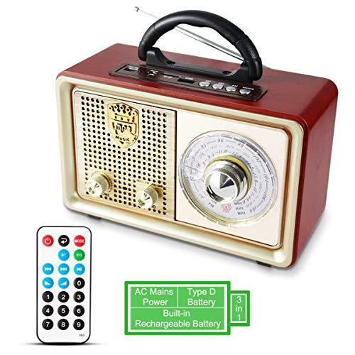 PRUNUS M-110BT UKW FM AM(MW) SW AUX tragbares Bluetooth MP3-Radio. Mit klassischem Vintage