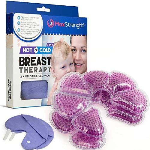 Max Strength Pro Breastcare 2 x Thermopads, 2 xBezüge, Gel-Stilleinlagen, 3-in-1,kalte/warme Verwendung, verbesserte Milchproduktion und Linderung bei Schmerzen -