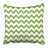 Throw Pillow Covers Print Zag Green Spring Chevron Trendy Color Design Zig Abstract Eco Ecology Fresh Geometric Graphic Polyester 18 X 18 inch Square Hidden Zipper Decorative Pillowcase