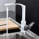snowballing Elegant Design Kitchen Sink Mixer Tap 360 ° Rotatable Kitchen Faucet Single Lever Mixer Tap for Sinks Solid Brass Baked Enamel Chrome Finish, Silver, White