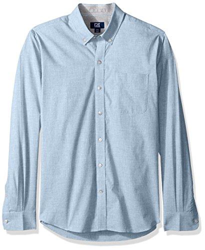 Light Blue Plaid Shirts (Cutter & Buck Herren Long Sleeve Non-Iron Heather Collared Shirt Button Down Hemd, Light Blue, 2X Hoch)