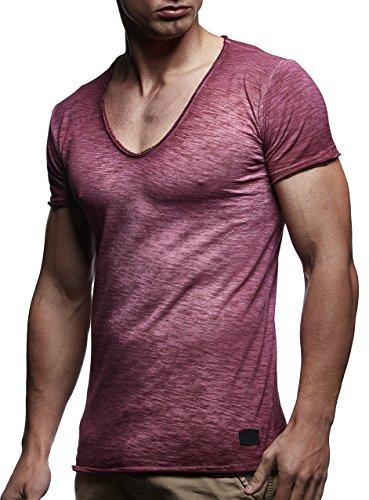 LEIF NELSON Herren Basic T-Shirt Hoodie Verwaschen Longsleeve tiefer V-Ausschnitt V-Neck Ausschnitt Kurzarm Shirt Vintage Sweatshirt; Größe L, Verw. Bordeaux
