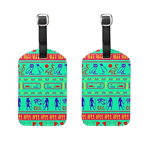 Kofferanhänger mit Ausweis, Travel Luggage Tags Colorful Egypt Symbols PU Leather Baggage Suitcase Tag Identify Set of 2