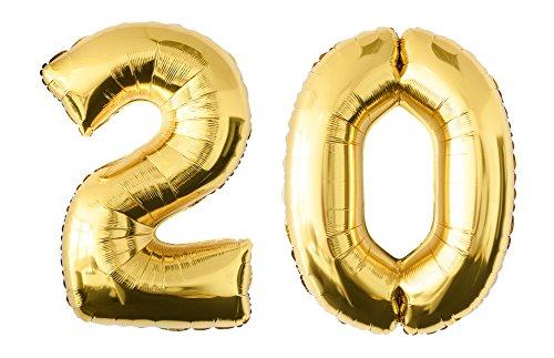 Preisvergleich Produktbild Folienballon 20 gold Zahlenballon Luftballon Riesenzahl Party Hochzeit Kindergeburtstag Geburtstag