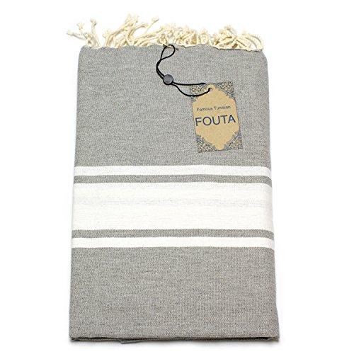 ANNA ANIQ Premium Fouta Hamamtuch Sauna-Tuch XXL Extra Groß 197 x 100cm - 100% Baumwolle aus Tunesien als Strand-Tuch, orientalisches Bade-Tuch, Picknick, Yoga, Schal, Pestemal (Grau)