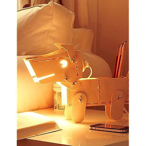 Iluminación de Navidad regalos de Navidad MZMZ 28*26*11cm ajustable Luz Lámpara de lectura creativa Cepillo de madera ligera Pot cachorros Luz LED lámpara de escritorio ,