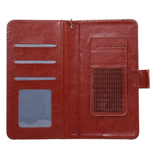 A3 Universal Da Vinci Textur Horizontale Flip Ledertasche mit Crad Slots & Brieftasche & Foto Frame & Magnetic Gürtelschnalle & 18cm Lanyard für Samsung Galaxy S7 & S6 Edge & S6, iPhone 7 & 6s & 6, Hu Brown
