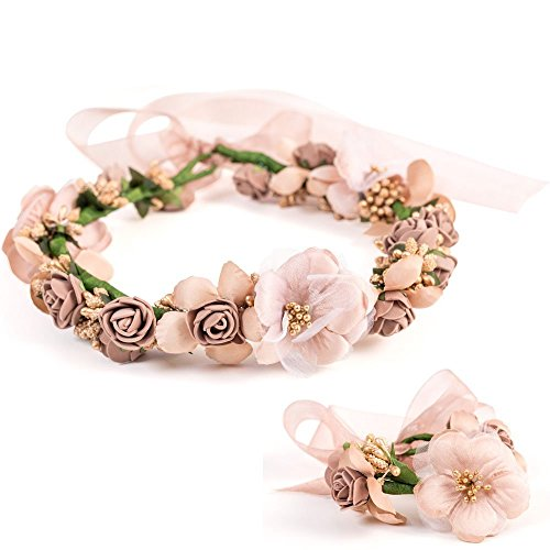 Bride Rose Flower Floral Crown Wedding Photography Travel Holiday Garland Headband Hair Wreath Halo with Adjustable Voile Ribbon And a Bracelet For Girls Women Hair Accessories Brown