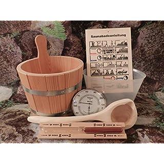 Achleitner Sauna Premium- Set 6 teilig Aufgußkübel aus PEFC zertifizierten Lärchenholz