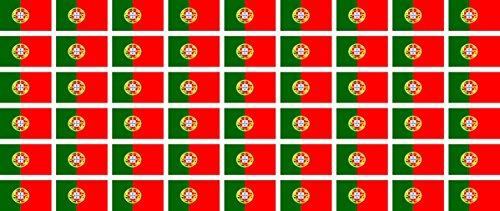 Mini Aufkleber Set - Pack glatt - 20x12mm - selbstklebender Sticker - Portugal - Flagge / Banner / Standarte fürs Auto, Büro, zu Hause und die Schule - 54 Stück -