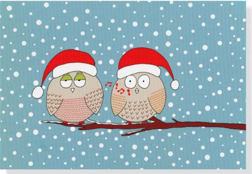 Mini Boxed Christmas Cards: Whistling Owls