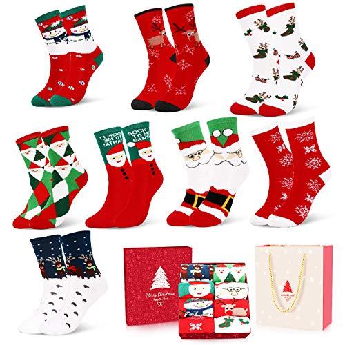 Emooqi Weihnachtssocken, Weihnachten Socken Festliche Socken Baumwollsocken Wollesocken Super Warm Socken für Geschenk| 4 Paar für Kinder| 4 Paar Erwachsene| mit Exquisite Geschenkbox & Geschenktüte