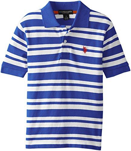 U.S. Polo Assn. Big Boys' 2 Color Striped Pique Polo, Cobalt Blue, 14/16 (Polo Pique Boys Striped)