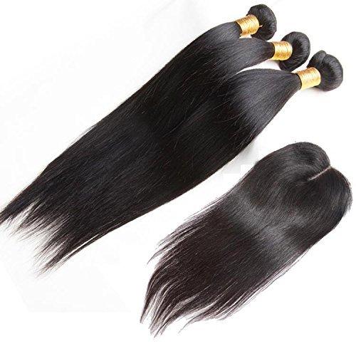 """ohlees ® Haarverlängerungen brasilianische Straight Brazilian Human Hair frauen gerade brasilianische haarverlängerungen wirklich 100% der jungfrau remy premium weben 3 bündel schußfäden + 1 pc spitzen frontal schließung 4 * 4 (10""""10""""10""""+10"""")"""