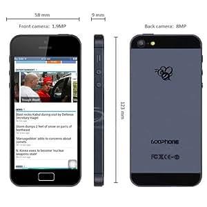 4 Goophone pouces Android 4.2 P5 téléphone 3G intelligent MTK6577 Dual Core cadencé à 1 GHz 2 Go de RAM 4 Go ROM WSVGA écran 8MP WiFi GPS (Noir)