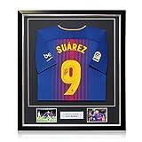 Exclusive Memorabilia Barcelona 2017-18 Fußballtrikot von Luis Suarez Signiert. Im Deluxe-Rahmen