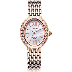 LONGBO Womens Fashion Roman Numral Crystal Rhinestone Accented Ellipse Case Lady Dress Watch Rose Gold Bracelet Wrist Watches Girl Analog Quartz Full Stainless Steel Bangle Watches