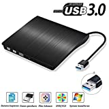 USB3.0 DVD-RW DVD/CD Brenner Slim externes Laufwerk Portable DVD CD Brenner, QinYun Superdrive für alle Laptops/Desktop z.B Lenovo,Acer,Asus,PC unter Windows und Mac OS für Apple Macbook, Macbook Pro, MacbookAir, iMac – Schwarz