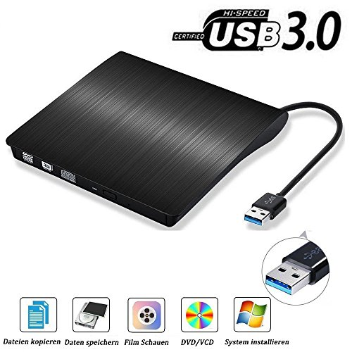 USB3.0 DVD-RW DVD/CD Brenner Slim extern Laufwerk Portable DVD CD Brenner, QinYun Superdrive für alle Laptops/Desktop z.B Lenovo,Acer,Asus,PC unter Windows und Mac OS für Apple Macbook, Macbook Pro, MacbookAir, iMac – Schwarz Imac Desktop-computer