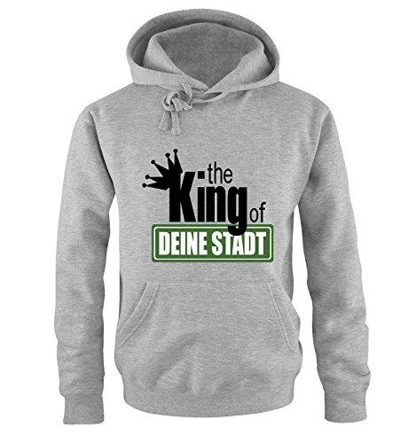 Cool Funny Kostüm - Comedy Shirts The King of... Deine Stadt Herren T-Shirt Hoodie Grau Gr. L