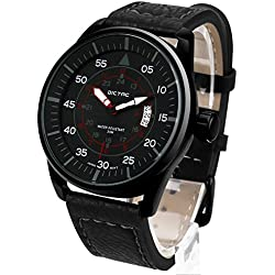 Dictac Wrist Watch Men's Analog PU Strap Classic Business and Sport Round Watch