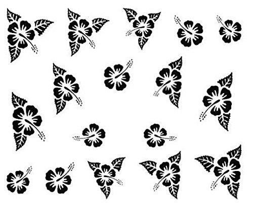Nail art manucure stickers ongles décalcomanie scrapbooking: fleurs des îles noires