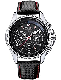 b2098ab70bff P Prettyia MEGIR Cronógrafo para Hombre Reloj Deportivo De Cuero Negro Reloj  De Cuarzo Resistente Al