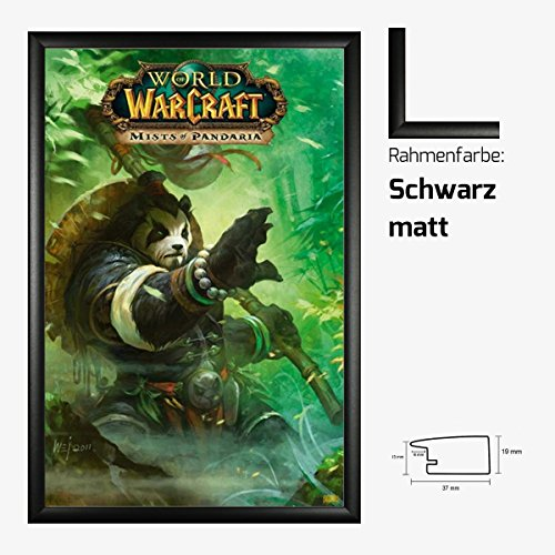 Kunstdruck Poster - World of Warcraft WoW Mists of Pandaria 61 x 91,50 cm mit MDF-Bilderrahmen Pisa & Acrylglas reflexfrei, viele Farben zur Auswahl, hier Schwarz matt -