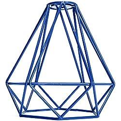 Jaula Lámpara de Techo Luz Bulbo Colgante de Loft Diamante de Imitación Metal Vendimia Decoración - Azul