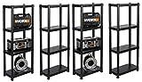 Sparset: 4 Stück KREHER XL Regal aus Kunststoff mit jeweils vier robusten Böden für Haushalt, Büro, Garten & Werkstatt. Maße pro Regal: 60x30x143 cm. Erweiterbar zum Regalsystem.