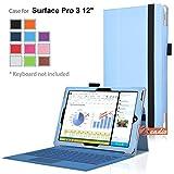 zeadio Prämie Leder Tasche Hülle Schutzhülle Etui Case Cover mit Ständer für Microsoft Surface PRO 3 (3rd Generation) Windows 8.1 (12 Inch) Tablet - T¨¹rkis