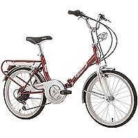 """Cicli Cinzia Bicicletta 20"""" Pieghevole Firenze 6/V Revo Shift V-Brake Alluminio, Rosso/Bianco, Unisex – Adulto"""
