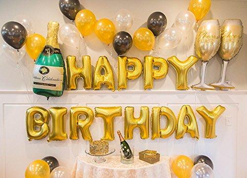Conjunto de globos dorados de cumplea os y champagne for Decoracion con globos 50 anos