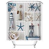 Seestern & Drift-Flaschen Duschvorhang, Qile Top Qualität Anti-Schimmel & Anti-Bakteriell 3D Duschvorhänge für Bad Badezimmer 180 x 180 cm + 12 Haken