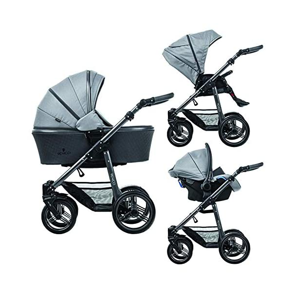 Venicci Carbo Lux 3-in-1 Travel System - Natural Grey - with Carrycot + Car Seat + Changing Bag + Apron + Raincover + Mosquito Net + 5-Point Harness and UV 50+ Fabric + Car Seat Adapters + Cup Holder Venicci 3 in 1 Travel System with included Group 0+ Car Seat 5-point harness to enhance the safety of your child Comfortable seat for baby with additional liners 5