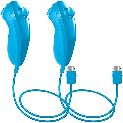 WII Nunchuck Controller, lyyes Nunchuck Controller für Nintendo WII Video Game Pack von 2 Blau Blau -