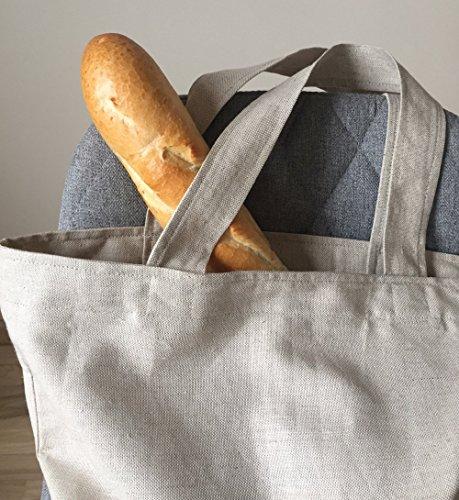 Leinen Tote Tasche für Erwachsene Minimalistischer Stil Markttasche Große Einkaufstasche einfaches Design Eko freundlich Shopper -
