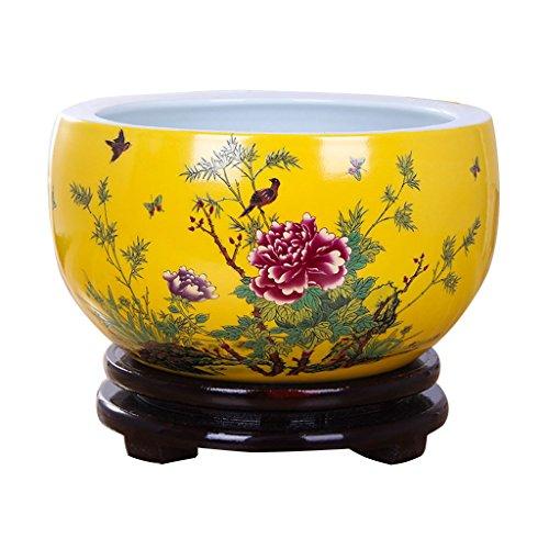 BOBE SHOP Pot de fleur en céramique de style chinois intérieur décoratif pot de fleur jaune sans plateau plantes hydroponiques plantes succulentes pot de fleur sans trous 20 ~ 30cm ( Couleur : #2 , taille : 25cm )