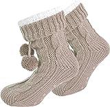 Damen Socken mit ABS Sohle Innenfell Extra dicke Haussocken Anti Rutsch Sohle Farbe Beige Größe 36/40